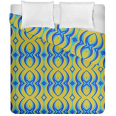 Blue Yellow Duvet Cover Double Side (california King Size)