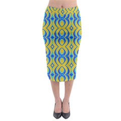 Blue Yellow Midi Pencil Skirt