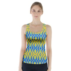 Blue Yellow Racer Back Sports Top