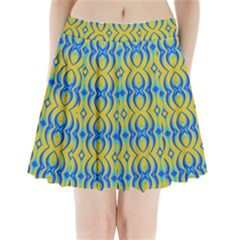 Blue Yellow Pleated Mini Skirt