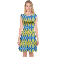 Blue Yellow Capsleeve Midi Dress