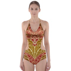 European Fine Batik Flower Brown Cut-Out One Piece Swimsuit