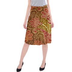 European Fine Batik Flower Brown Midi Beach Skirt