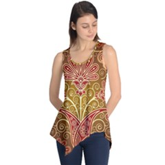 European Fine Batik Flower Brown Sleeveless Tunic