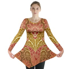 European Fine Batik Flower Brown Long Sleeve Tunic