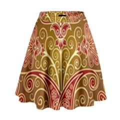 European Fine Batik Flower Brown High Waist Skirt