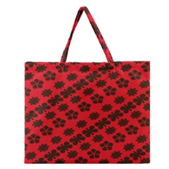 Diogonal Flower Red Zipper Large Tote Bag