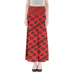 Diogonal Flower Red Maxi Skirts