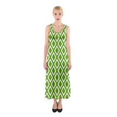 Diamonds Green White Sleeveless Maxi Dress