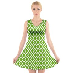 Diamonds Green White V-Neck Sleeveless Skater Dress