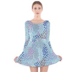 Flower Long Sleeve Velvet Skater Dress