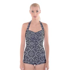 Flower Batik Gray Boyleg Halter Swimsuit