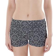 Flower Batik Gray Boyleg Bikini Wrap Bottoms