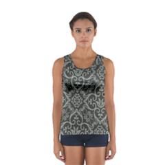 Flower Batik Gray Women s Sport Tank Top
