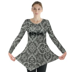 Flower Batik Gray Long Sleeve Tunic