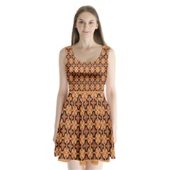 Flower Batik Split Back Mini Dress
