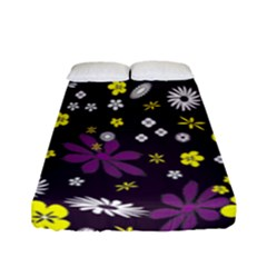 Floral Purple Flower Yellow Fitted Sheet (full/ Double Size)