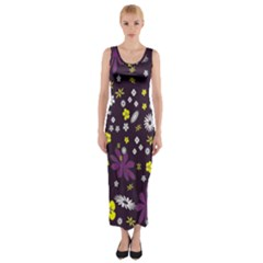 Floral Purple Flower Yellow Fitted Maxi Dress