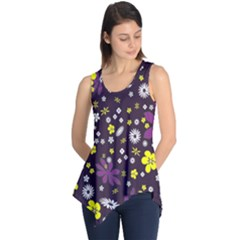 Floral Purple Flower Yellow Sleeveless Tunic