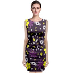 Floral Purple Flower Yellow Classic Sleeveless Midi Dress