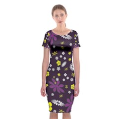 Floral Purple Flower Yellow Classic Short Sleeve Midi Dress