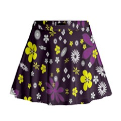 Floral Purple Flower Yellow Mini Flare Skirt