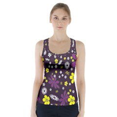 Floral Purple Flower Yellow Racer Back Sports Top