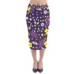 Floral Purple Flower Yellow Velvet Midi Pencil Skirt