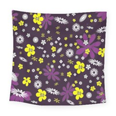 Floral Purple Flower Yellow Square Tapestry (large)