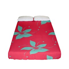 Flower Green Red Fitted Sheet (full/ Double Size)