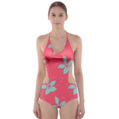 Flower Green Red Cut-Out One Piece Swimsuit