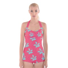 Flower Green Red Boyleg Halter Swimsuit