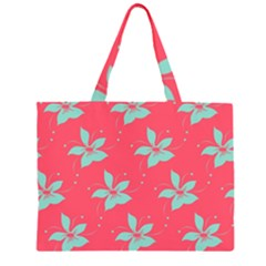 Flower Green Red Large Tote Bag