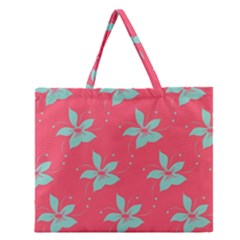 Flower Green Red Zipper Large Tote Bag