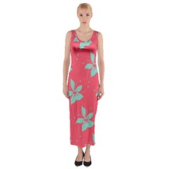 Flower Green Red Fitted Maxi Dress