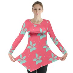 Flower Green Red Long Sleeve Tunic