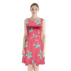 Flower Green Red Sleeveless Chiffon Waist Tie Dress