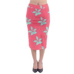 Flower Green Red Midi Pencil Skirt