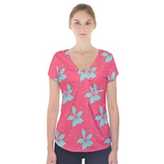 Flower Green Red Short Sleeve Front Detail Top