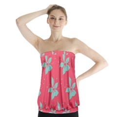 Flower Green Red Strapless Top