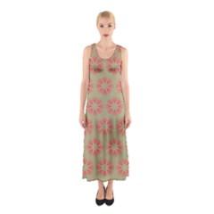 Flower Pink Sleeveless Maxi Dress