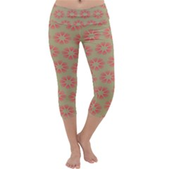 Flower Pink Capri Yoga Leggings