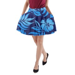 Flower Blue A-Line Pocket Skirt