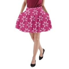 Flower Roses A-Line Pocket Skirt