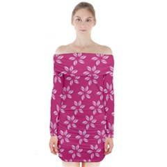 Flower Roses Long Sleeve Off Shoulder Dress