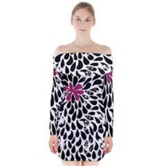 Flower Simple Pink Long Sleeve Off Shoulder Dress