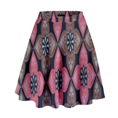 Flower Pink Gray High Waist Skirt