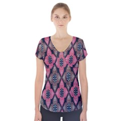 Flower Pink Gray Short Sleeve Front Detail Top