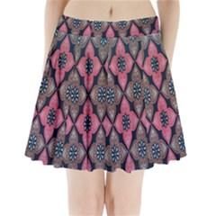 Flower Pink Gray Pleated Mini Skirt