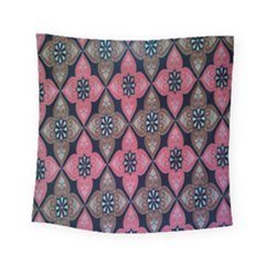 Flower Pink Gray Square Tapestry (small)